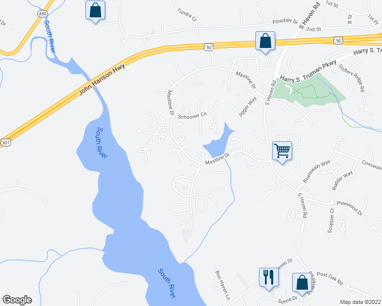 map of restaurants, bars, coffee shops, grocery stores, and more near 2618 Vantage Cove in Annapolis