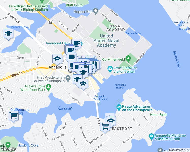 map of restaurants, bars, coffee shops, grocery stores, and more near Dock Street in Annapolis