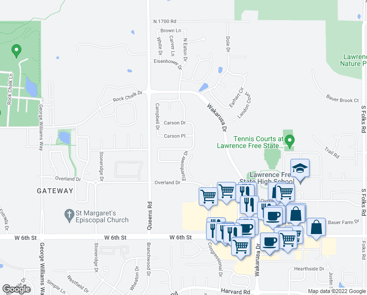 map of restaurants, bars, coffee shops, grocery stores, and more near 5202 Eisenhower Place in Lawrence