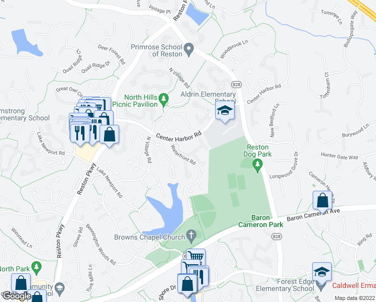 map of restaurants, bars, coffee shops, grocery stores, and more near 11410 Esplanade Drive in Reston