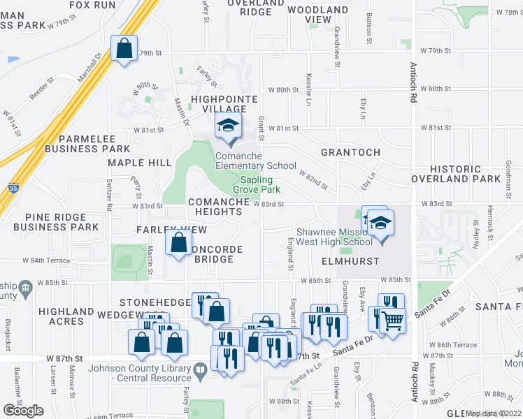 map of restaurants, bars, coffee shops, grocery stores, and more near 7913 Grant Avenue in Overland Park