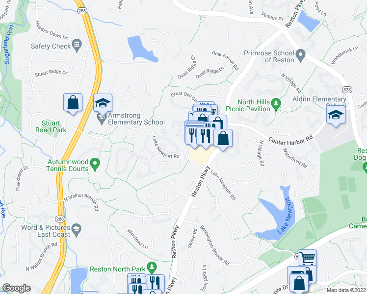 map of restaurants, bars, coffee shops, grocery stores, and more near 11727 Summerchase Circle in Reston