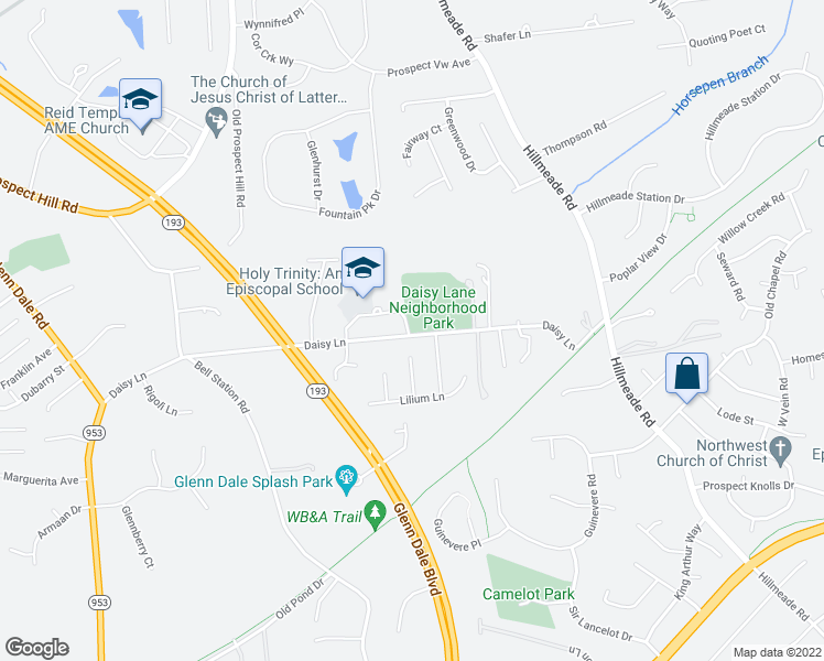 map of restaurants, bars, coffee shops, grocery stores, and more near 12000 Daisy Lane in Glenn Dale