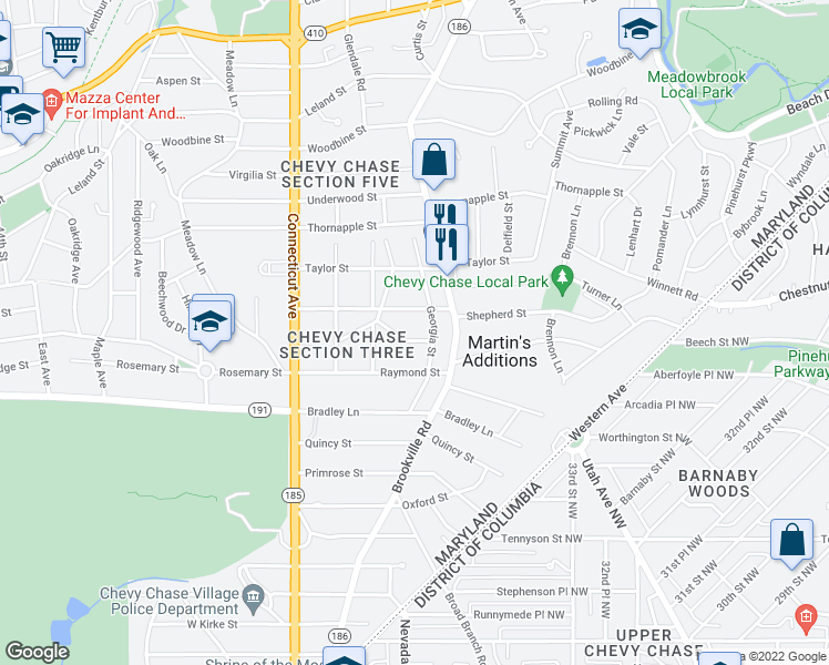 map of restaurants, bars, coffee shops, grocery stores, and more near 3607 Spring Street in Chevy Chase