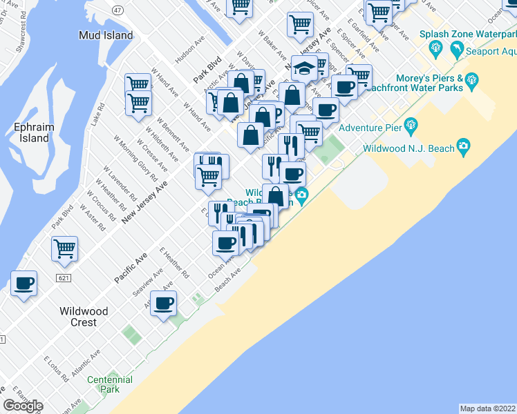 map of restaurants, bars, coffee shops, grocery stores, and more near 301 East Leaming Avenue in Wildwood
