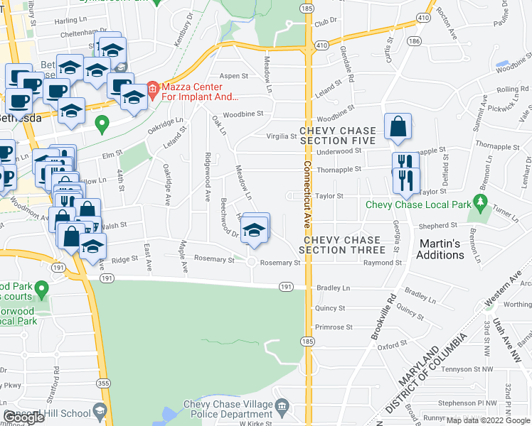 map of restaurants, bars, coffee shops, grocery stores, and more near 7077 Woodmont Avenue in Bethesda