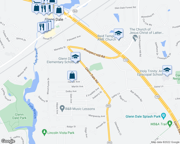 map of restaurants, bars, coffee shops, grocery stores, and more near 6521 Glenn Dale Road in Glenn Dale
