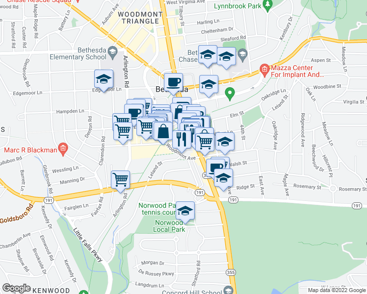 map of restaurants, bars, coffee shops, grocery stores, and more near 4710 Bethesda Avenue in Bethesda