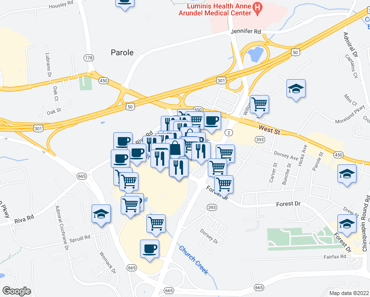map of restaurants, bars, coffee shops, grocery stores, and more near 1906 Towne Centre Boulevard in Annapolis