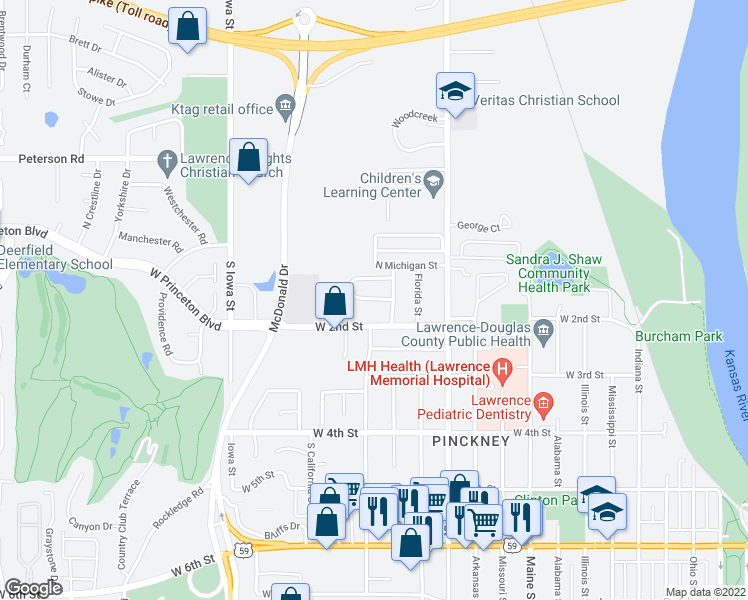 map of restaurants, bars, coffee shops, grocery stores, and more near Kenwood Drive in Lawrence