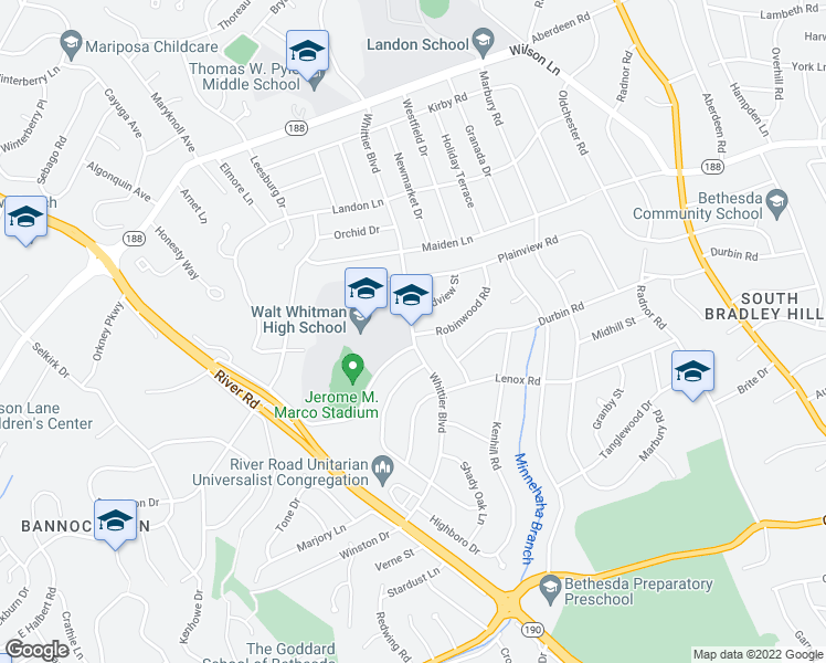 map of restaurants, bars, coffee shops, grocery stores, and more near 7105 Whittier Boulevard in Bethesda