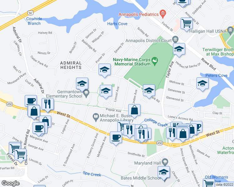 map of restaurants, bars, coffee shops, grocery stores, and more near 308 Locust Avenue in Annapolis