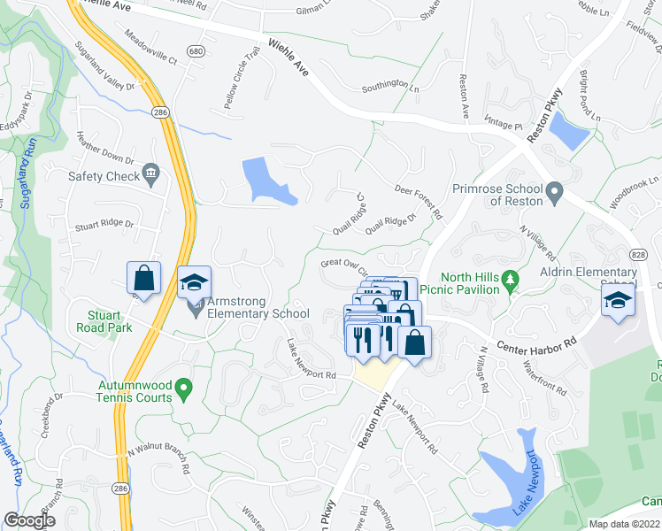 map of restaurants, bars, coffee shops, grocery stores, and more near 11745 Great Owl Circle in Reston