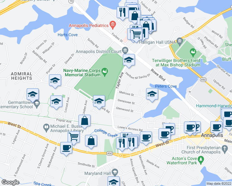map of restaurants, bars, coffee shops, grocery stores, and more near 772 Melrose Street in Annapolis