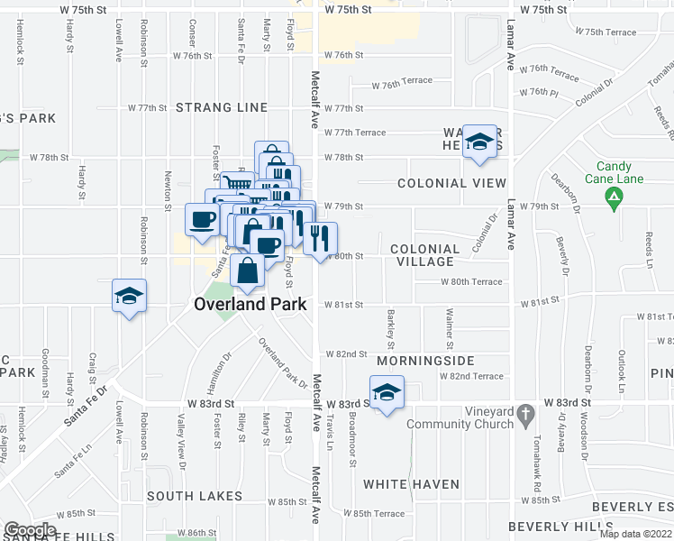 map of restaurants, bars, coffee shops, grocery stores, and more near 8045 Metcalf Avenue in Overland Park