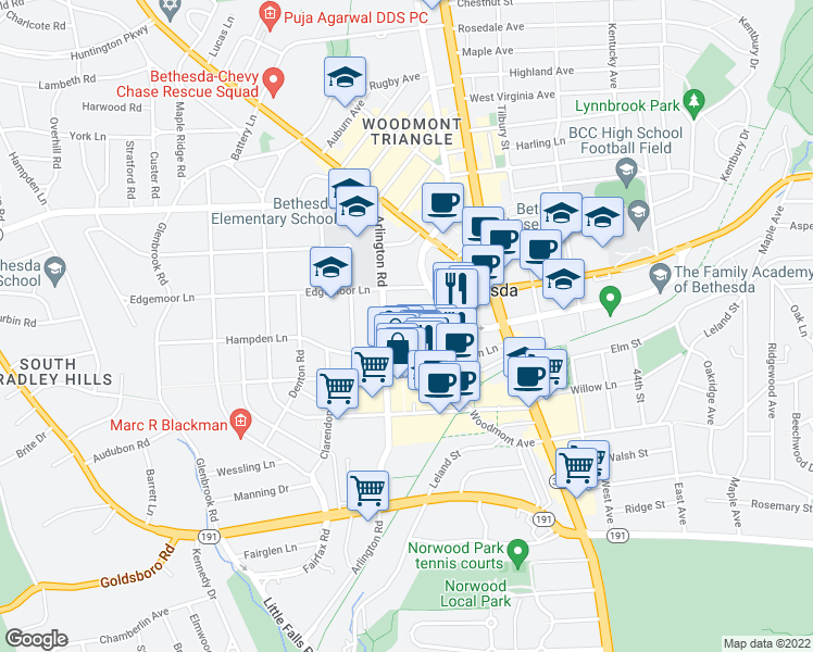 map of restaurants, bars, coffee shops, grocery stores, and more near 4901 Montgomery Lane in Bethesda