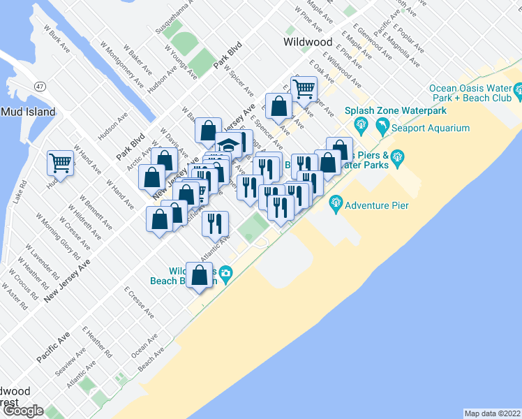 map of restaurants, bars, coffee shops, grocery stores, and more near 303 East Montgomery Avenue in Wildwood