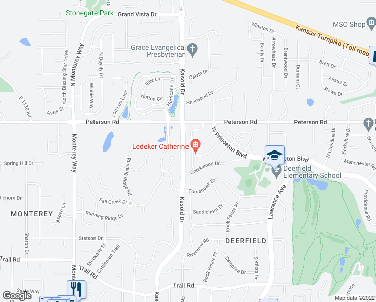 map of restaurants, bars, coffee shops, grocery stores, and more near 205 Glenview Drive in Lawrence
