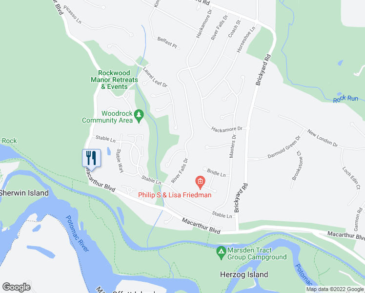 map of restaurants, bars, coffee shops, grocery stores, and more near 7508 River Falls Drive in Potomac