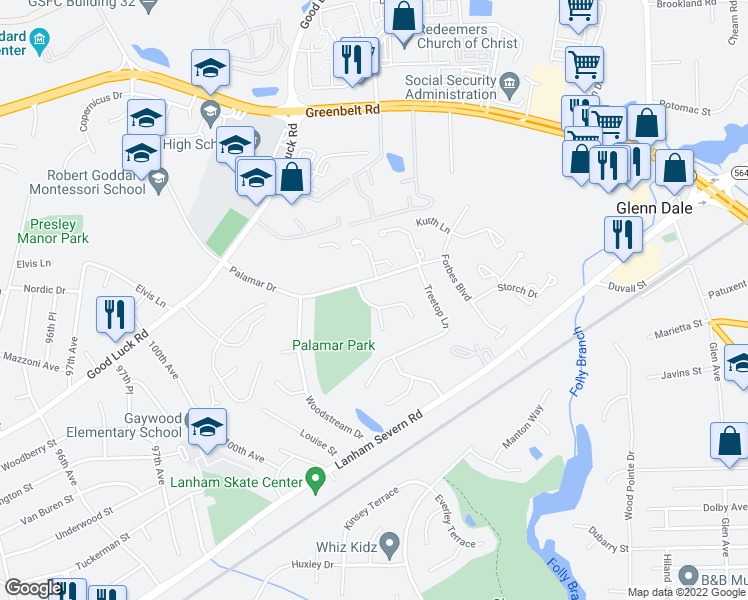 map of restaurants, bars, coffee shops, grocery stores, and more near 10101 Palamar Drive in Lanham