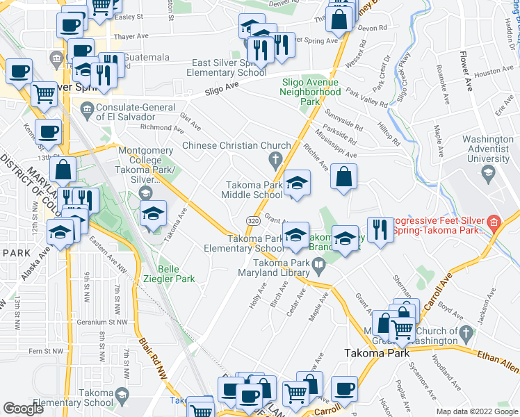 map of restaurants, bars, coffee shops, grocery stores, and more near 7623-7637 Piney Branch Road in Silver Spring