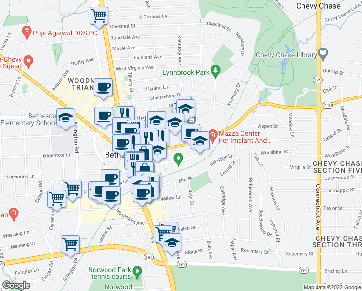 map of restaurants, bars, coffee shops, grocery stores, and more near 4411 East-West Highway in Bethesda