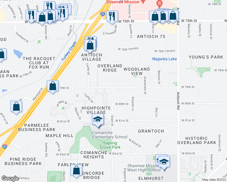 map of restaurants, bars, coffee shops, grocery stores, and more near 7901 Grant Lane in Overland Park