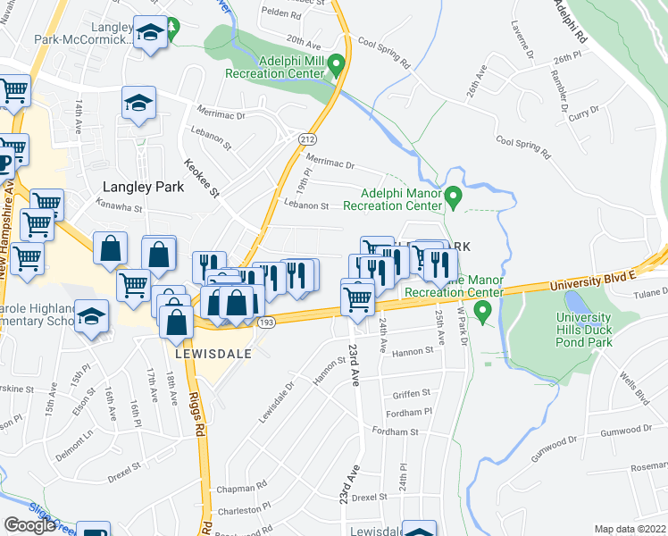 map of restaurants, bars, coffee shops, grocery stores, and more near 2200 Phelps Road in Hyattsville