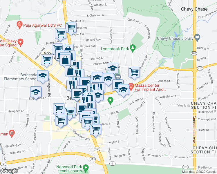 map of restaurants, bars, coffee shops, grocery stores, and more near 4301 East-West Highway in Bethesda