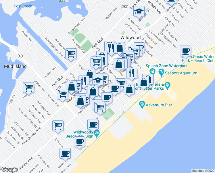 map of restaurants, bars, coffee shops, grocery stores, and more near 201 East Roberts Avenue in Wildwood