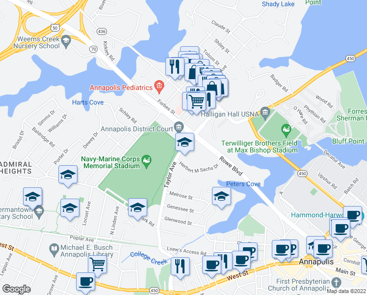 map of restaurants, bars, coffee shops, grocery stores, and more near 863-873 Taylor Avenue in Annapolis
