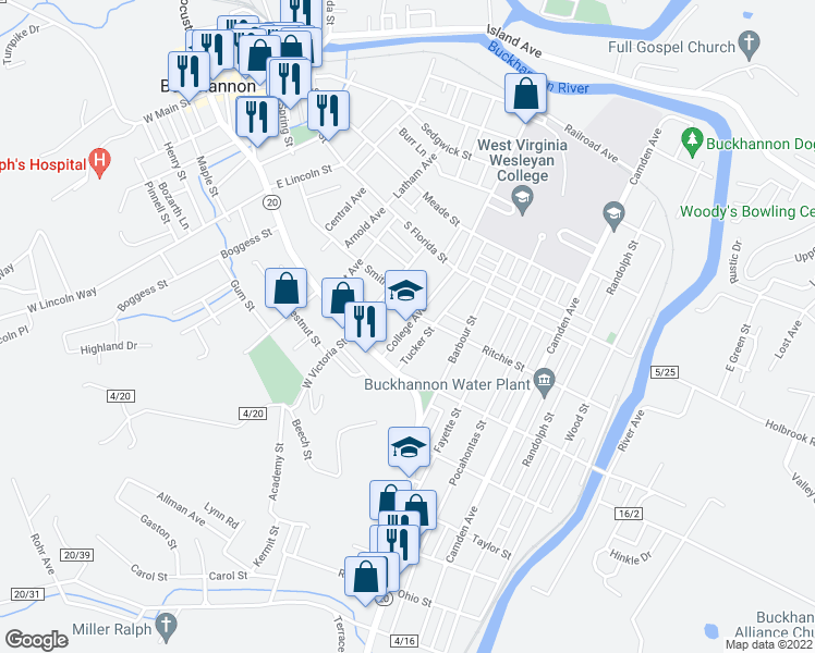 map of restaurants, bars, coffee shops, grocery stores, and more near 1-17 College Ave in Buckhannon