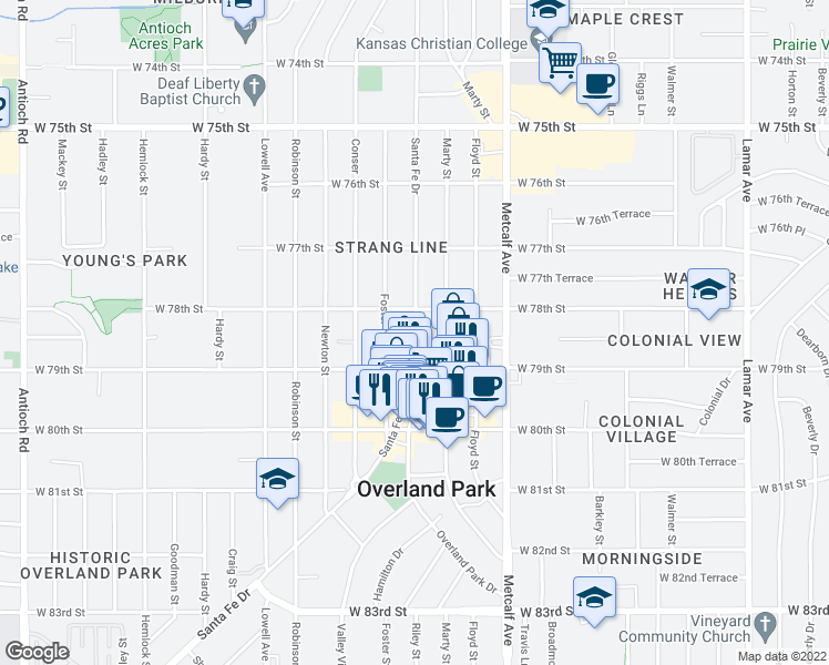 map of restaurants, bars, coffee shops, grocery stores, and more near 7843 Riley Street in Overland Park