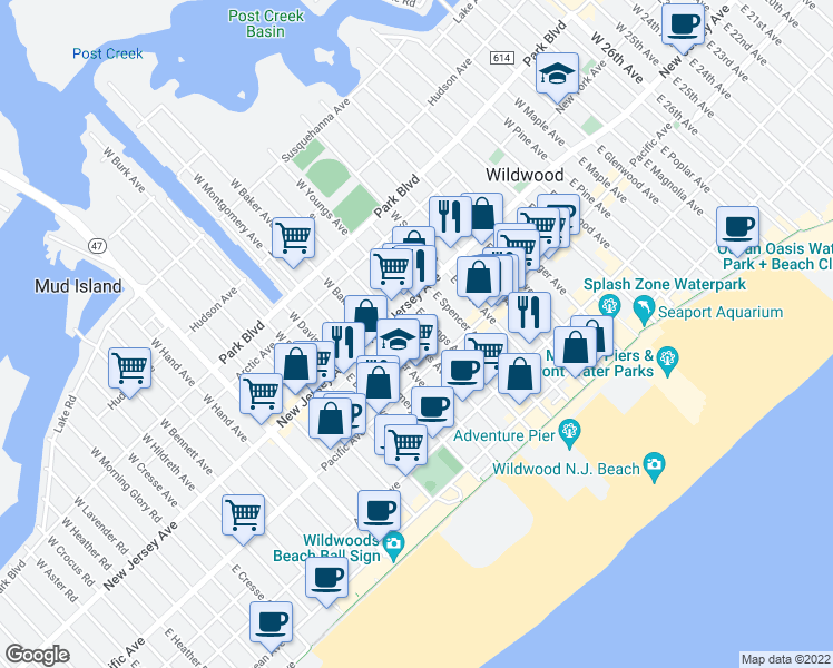 map of restaurants, bars, coffee shops, grocery stores, and more near 125 East Roberts Avenue in Wildwood