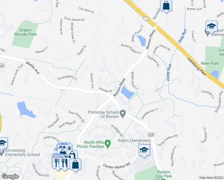 map of restaurants, bars, coffee shops, grocery stores, and more near 1244 Vintage Place in Reston