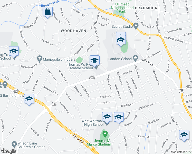 map of restaurants, bars, coffee shops, grocery stores, and more near 6321 Wilson Lane in Bethesda