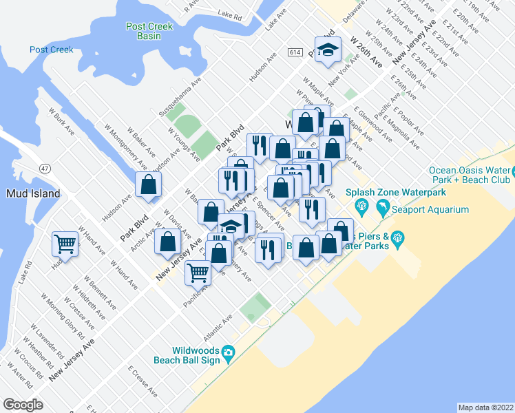 map of restaurants, bars, coffee shops, grocery stores, and more near 124 East Spencer Avenue in Wildwood