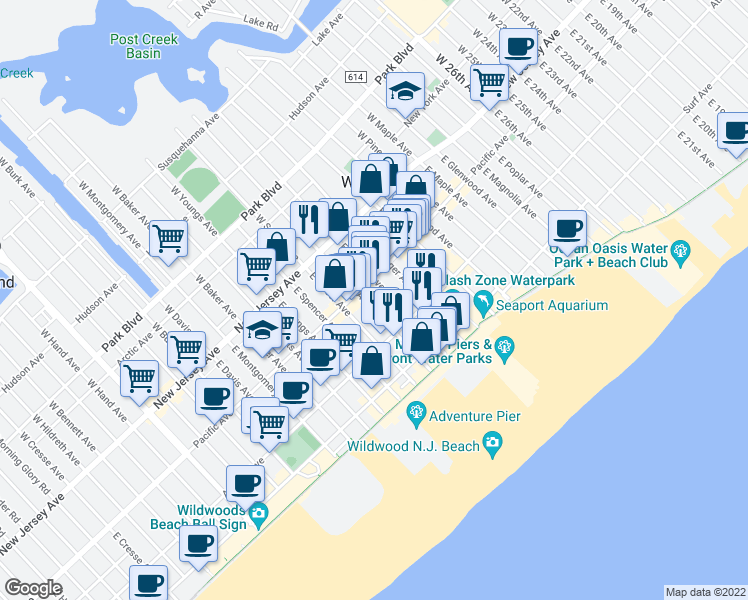 map of restaurants, bars, coffee shops, grocery stores, and more near 217 East Garfield Avenue in Wildwood