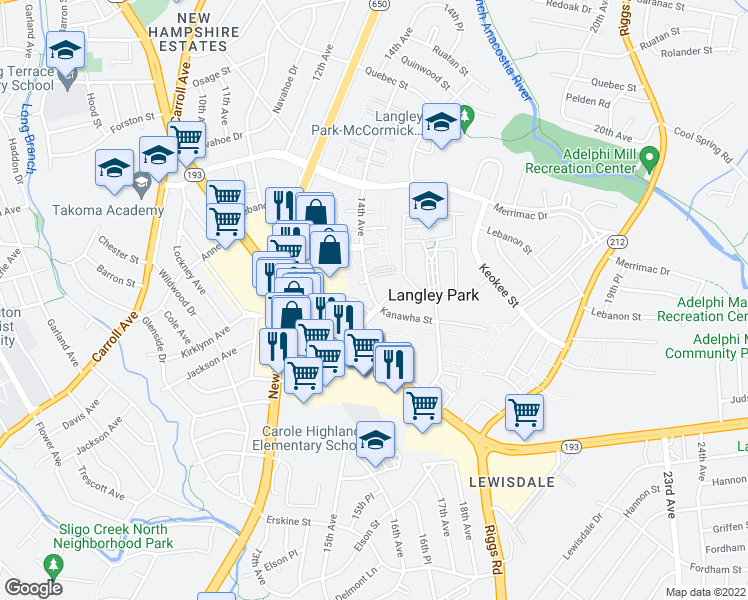 map of restaurants, bars, coffee shops, grocery stores, and more near 7916 14th Avenue in Hyattsville