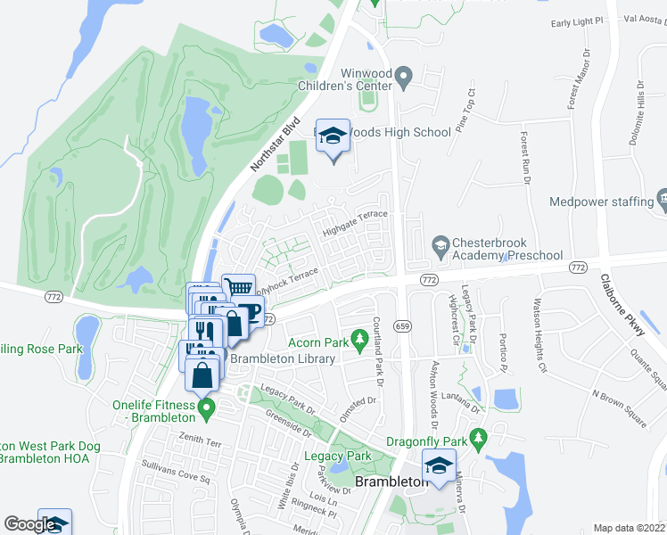map of restaurants, bars, coffee shops, grocery stores, and more near 22824 Ferncrest Terrace in Ashburn