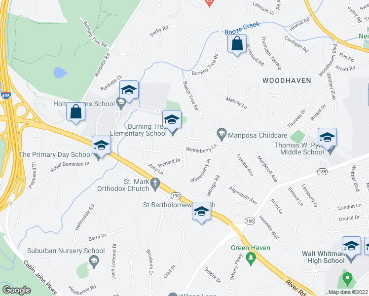 map of restaurants, bars, coffee shops, grocery stores, and more near 7901 Beech Tree Road in Bethesda