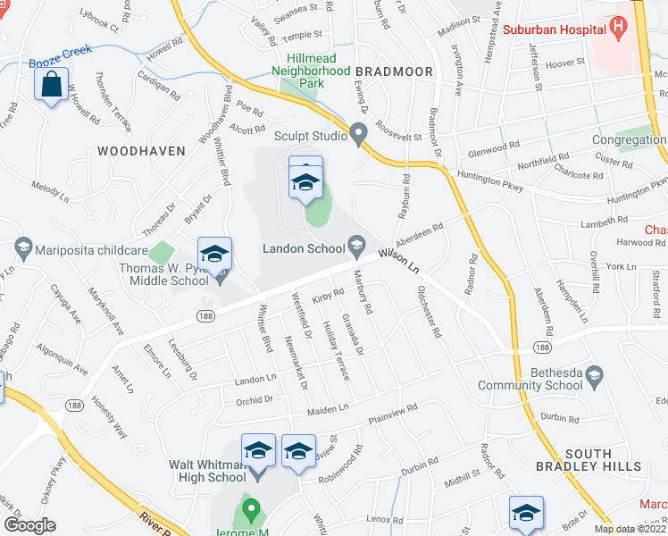 map of restaurants, bars, coffee shops, grocery stores, and more near 6101 Wilson Lane in Bethesda