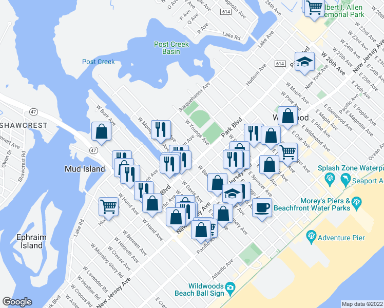 map of restaurants, bars, coffee shops, grocery stores, and more near 315 West Baker Avenue in Wildwood