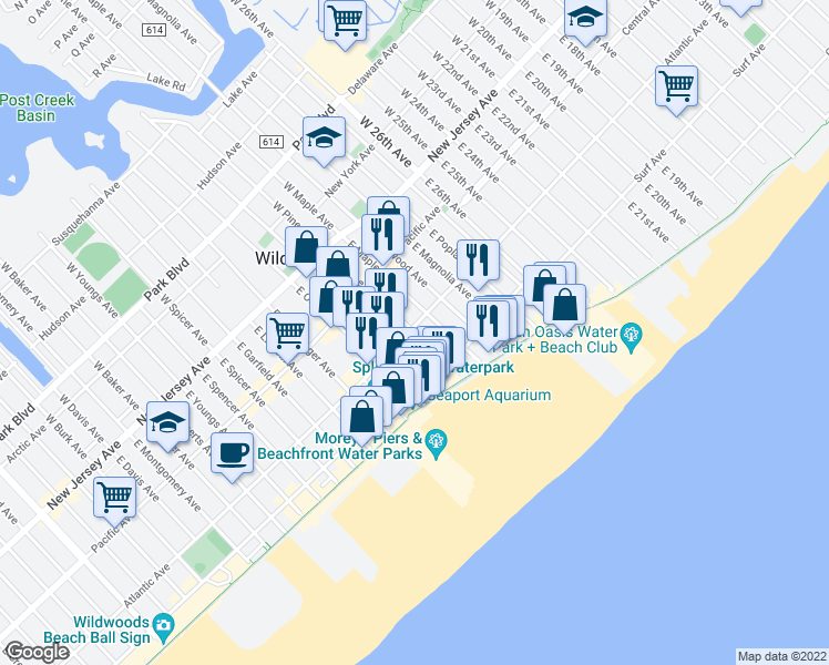 map of restaurants, bars, coffee shops, grocery stores, and more near 3201 Atlantic Avenue in Wildwood