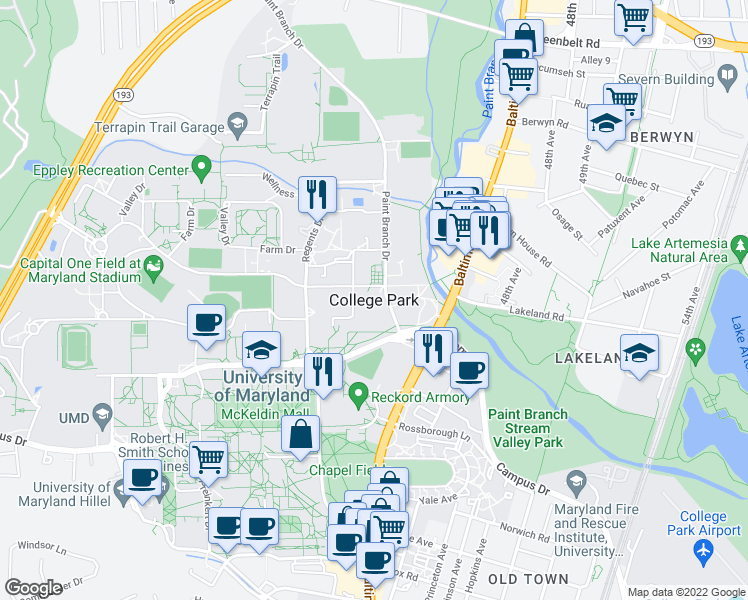 map of restaurants, bars, coffee shops, grocery stores, and more near in College Park