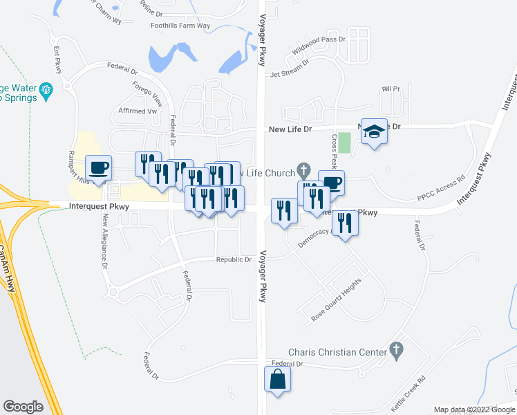 map of restaurants, bars, coffee shops, grocery stores, and more near Voyager Pkwy & Interquest Pkwy in Colorado Springs