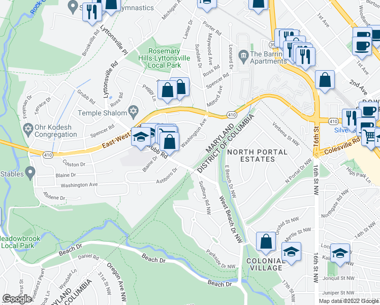 map of restaurants, bars, coffee shops, grocery stores, and more near 2234 Washington Avenue in Silver Spring
