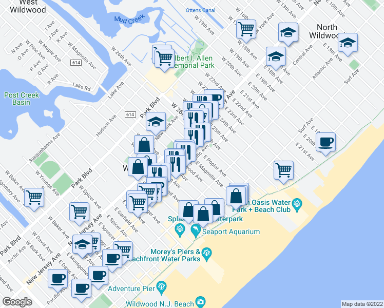 map of restaurants, bars, coffee shops, grocery stores, and more near 119 East Magnolia Avenue in Wildwood