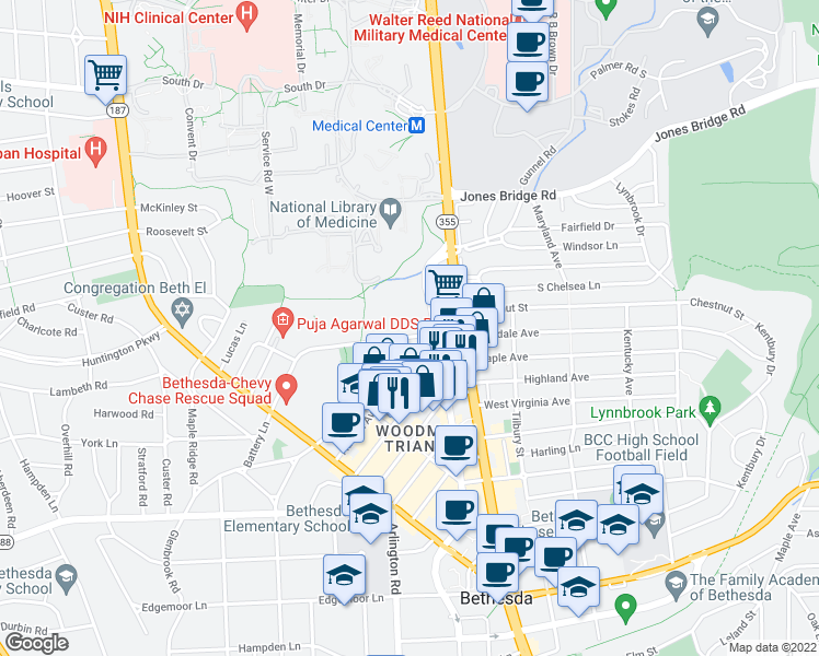 map of restaurants, bars, coffee shops, grocery stores, and more near 4887 Battery Lane in Bethesda