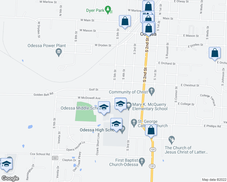 map of restaurants, bars, coffee shops, grocery stores, and more near 503 South 5th Street in Odessa